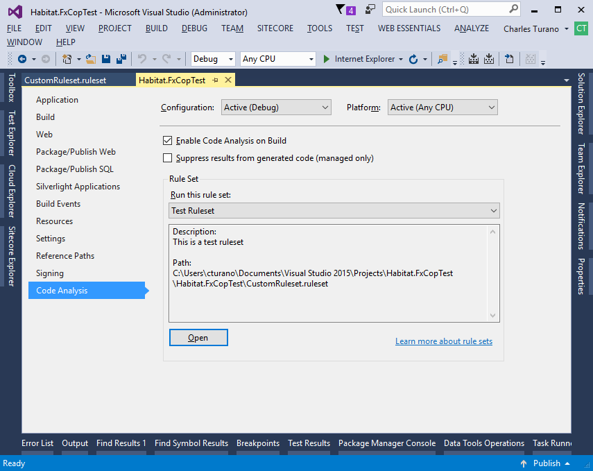 Installing FxCop Rules for Sitecore Helix - Visual Studio Project Properties Code Analysis tab