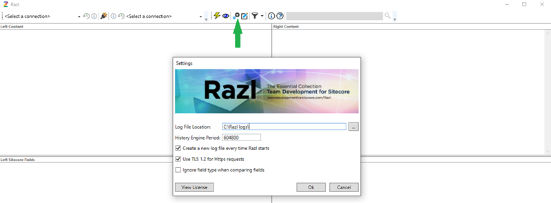 Snapshot of Razl Setting Button