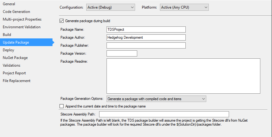 Configure TDS Classic to Create Packages